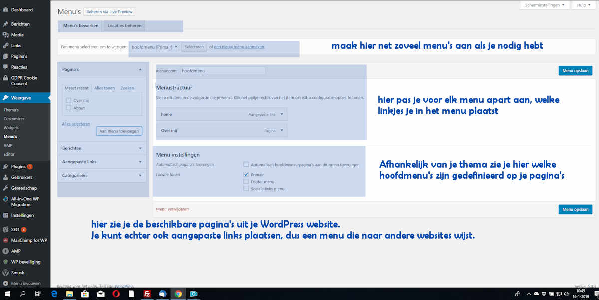 wordpress menu aanpassen